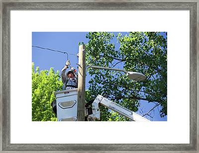 Led Street Light Installation Framed Print by Jim West