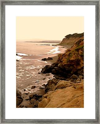 Leffingwell Landing Cambria Digital Painting Framed Print by Barbara Snyder