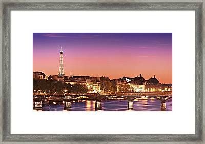 Framed Print featuring the photograph Left Bank At Night / Paris by Barry O Carroll