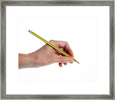 Left-handed Writer Framed Print