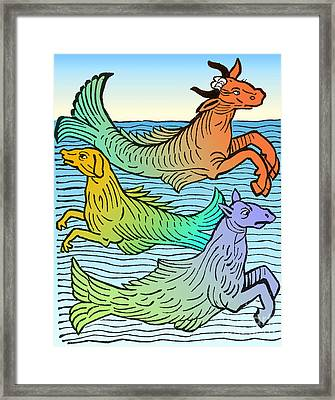 Legendary Sea Creatures 15th Century Framed Print by Science Source