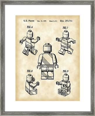 Lego Figure Patent 1979 - Vintage Framed Print