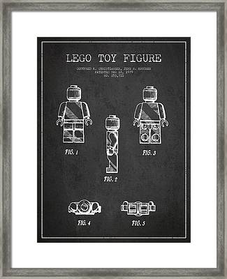 Lego Toy Figure Patent - Dark Framed Print by Aged Pixel