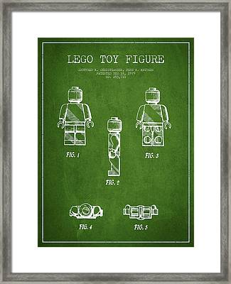 Lego Toy Figure Patent - Green Framed Print