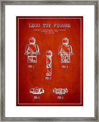 Lego Toy Figure Patent - Red Framed Print