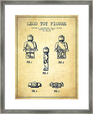 Lego Toy Figure Patent - Vintage Framed Print by Aged Pixel