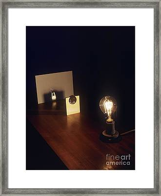 Lens Forming Image Of Lamp Framed Print by Andrew Lambert Photography