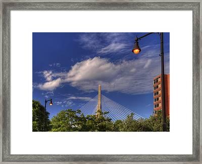 Leonard P Zakim Bridge - Boston Framed Print by Joann Vitali