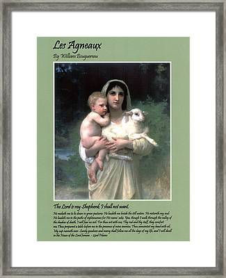 Les Agneaux Framed Print by William Bouguereau