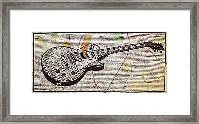 Les Paul On Austin Map Framed Print by William Cauthern