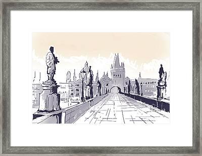 Lesser Town Bridge Tower Drawing Czech Republic Framed Print by Jorgo Photography - Wall Art Gallery