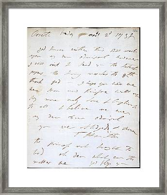 Letter Of Lady Hamilton Framed Print by British Library