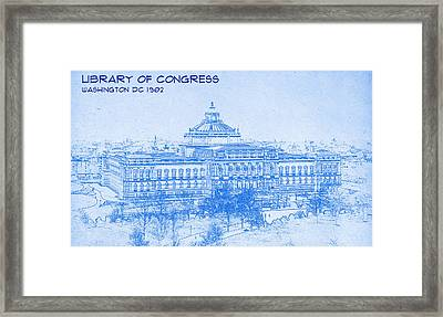 Library Of Congress Washington Dc 1902 Blueprint Framed Print