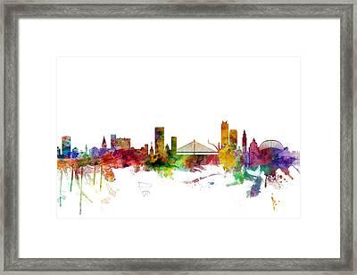 Liege Belgium Skyline Framed Print by Michael Tompsett