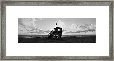 Lifeguard Hut On The Beach, 22nd St Framed Print by Panoramic Images
