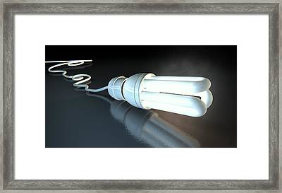 Light Bulb Dramatic  Framed Print by Allan Swart