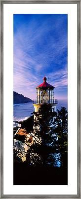 Lighthouse At A Coast, Heceta Head Framed Print