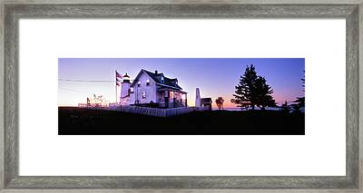 Lighthouse At A Coast, Pemaquid Point Framed Print by Panoramic Images