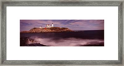 Lighthouse On The Coast, Nubble Framed Print by Panoramic Images