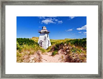 Lighthouse On The Dunes Framed Print by Dan Dooley