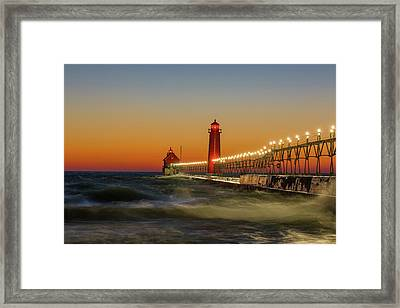 Lighthouse On The Jetty At Dusk, Grand Framed Print by Panoramic Images