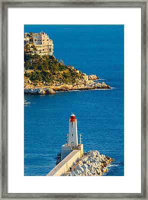 Lighthouse On The Riviera Framed Print by Sarit Sotangkur