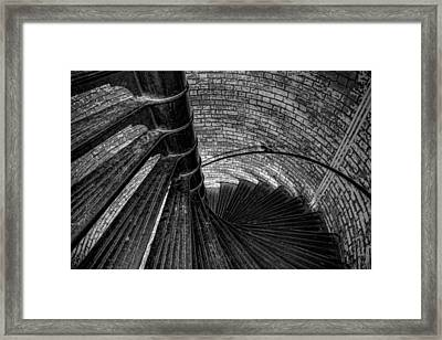 Lighthouse Stairs - Black And White Framed Print by Peter Tellone