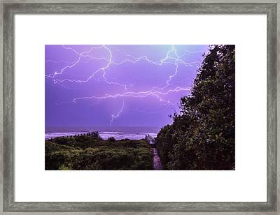 Lightning Over The Beach Framed Print