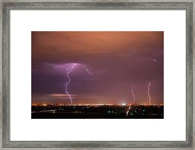 Lightning Storm Framed Print by Leland D Howard