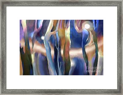 Lights In The Forest Framed Print by Ursula Freer