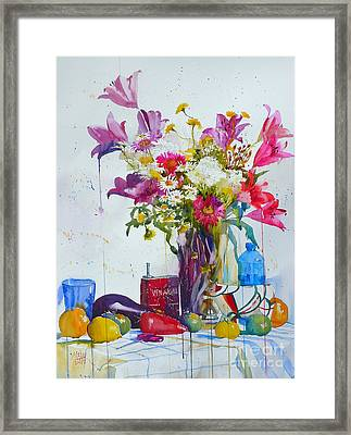 Lilies And Piggy Bank Framed Print by Andre MEHU
