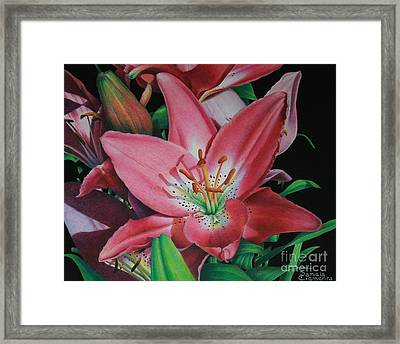 Framed Print featuring the painting Lily's Garden by Pamela Clements