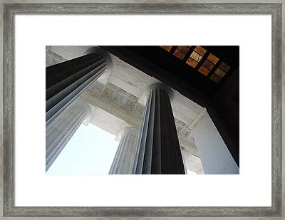 Lincoln Stained Glass And Columns Framed Print