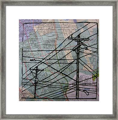 Lines On Map Framed Print by William Cauthern