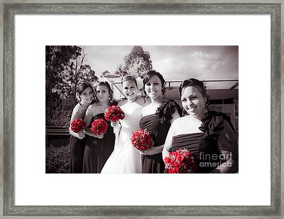 Lineup Of Bride And Bridesmaides Framed Print by Jorgo Photography - Wall Art Gallery