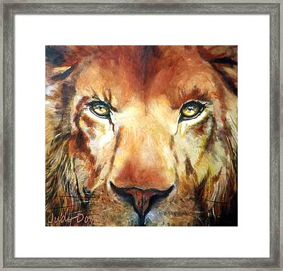 Lion Eyes Framed Print by Judy Downs