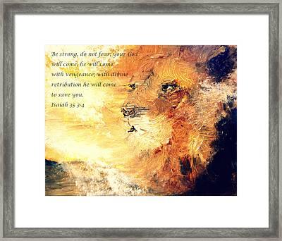 Lion Of Judah Strength Framed Print by Amanda Dinan