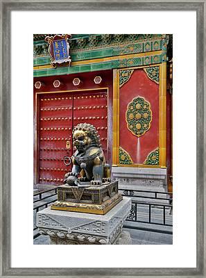 Lion Statue Standing Guard Forbidden Framed Print by Darrell Gulin