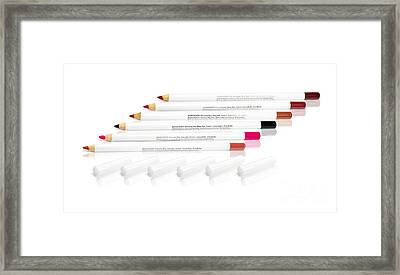 Lip Cosmetic Products Framed Print
