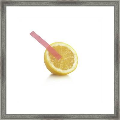 Litmus Paper Test On A Lemon Framed Print
