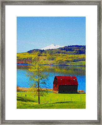 Little Barn By The Lake Framed Print by Lenore Senior and Constance Widen