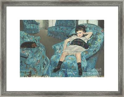 Little Girl In A Blue Armchair Framed Print by Celestial Images