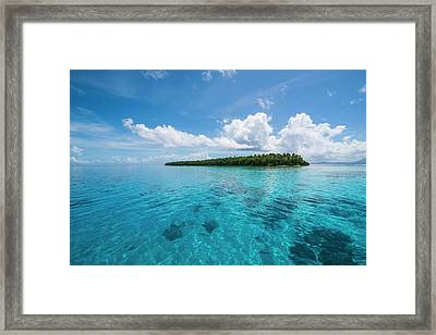Little Islet In The Ant Atoll, Pohnpei Framed Print by Michael Runkel