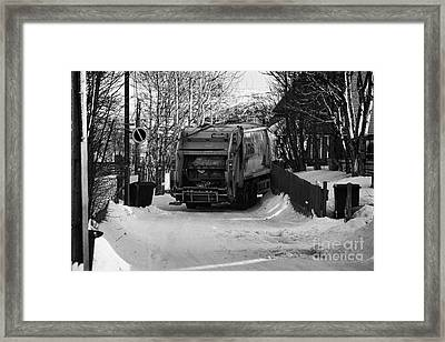 Local Waste Collection Lorry Collecting From Snow Covered Residential Street Kirkenes Finnmark Norwa Framed Print