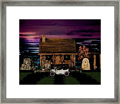 Log Cabin Scene At Sunset With The Old Vintage Classic 1913 Buick Model 25 Framed Print by Leslie Crotty