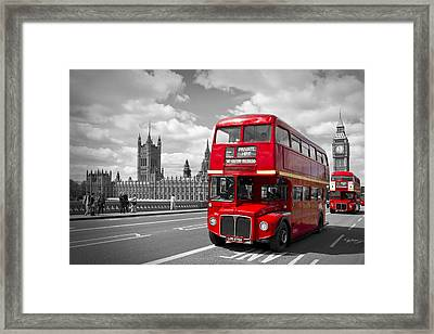 London - Houses Of Parliament And Red Buses Framed Print