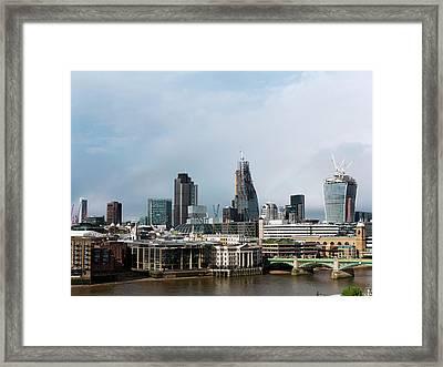 London Skyscraper Construction Framed Print by Daniel Sambraus