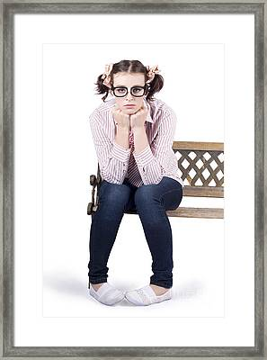 Lonely Business Girl Sitting On Park Bench Framed Print