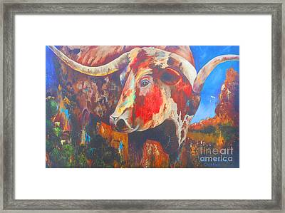 Framed Print featuring the painting Longhorn Bull Business by Karen Kennedy Chatham