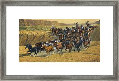 Wild Horse Round Up Framed Print by Don  Langeneckert